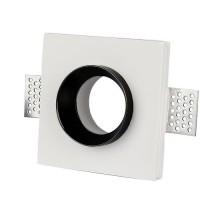 V-TAC VT-866 plafond carré gypse blanc encastré avec finition en métal noir pour led GU10-GU5.3 - SKU 3148