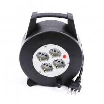 V-TAC Enrouleur rallonge de câble 10M norme italienne 4 x Schuko 10/16A avec protecteur de surcharge- sku 8701