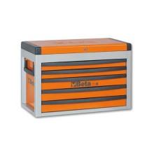 Cassettiera portatile 5 cassetti con serratura frontale e maniglie laterali vuoto colore arancione Beta C23S-O