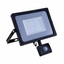 V-TAC PRO VT-20-S faro led 20W ultra slim nero con sensore PIR bianco caldo 3000K IP65 - SKU 451