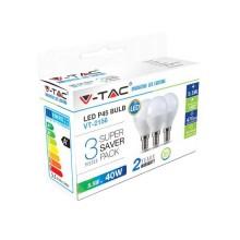 KIT Super Saver Pack V-TAC 3PCS/PACK LED BULB SMD Mini globe P45 5,5W E14 VT-2156 - SKU 7357 Warm White 2700K