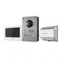 "Hikvision DS-KIS701/EU-W Kit Interphone vidéo 7"" écran tactile Famille unique 2 fils camera full hd 1080p fisheye blanc"