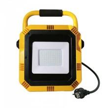 V-TAC PRO VT-51 50W LED Arbeitsscheinwerfer chip samsung mit Ständer und EU Stecker  schuko 3MT schwarzes/gelb Gehäuse 4000K - SKU 945