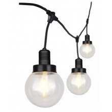 V-TAC VT-720S led string light connectable E27x6pcs with globe bulb lampholder cable 3M matt black waterproof IP65