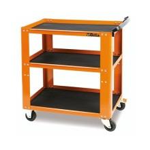 Carrello da officina metallico con 3 ripiani capacità carico statico 200Kg colore arancione Beta C51-O