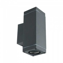 V-TAC VT-842 Portalampada wall light da muro up/down in alluminio quadrato grigio opaco 2xGU10 IP44 – SKU 8627