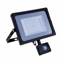 V-TAC PRO VT-30-S 30W led pir sensor floodlight SMD chip samsung day white 4000K slim black body IP65 - SKU 461