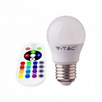 V-TAC SMART VT-2224 3.5W LED bulb E27 G45 RGB+W 6400K with RF remote control - sku 2774