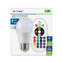 V-TAC VT-2022 Blister pack 6W LED Bulb smd 470LM RGB+W 3000K with remote control - sku 7324