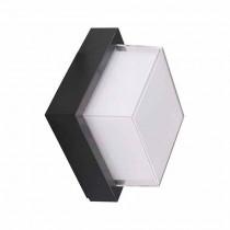V-TAC VT-831 7W wall light warm white 3000K square black body IP65 waterproof - sku 8612