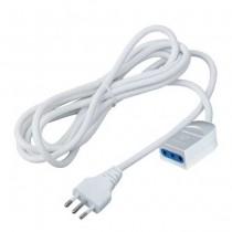 V-TAC Prolongateur rallonge électrique norme italienne avec fiche et prise 10A 2P+T câble blanc 3m - sku 8729
