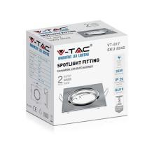 V-TAC VT-817 Portafaretti da incasso orientabile quadrato metallo nickel satinato per lampadine GU10-GU5.3 - sku 8942