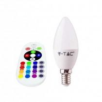 V-TAC SMART VT-2214 ampoule LED 3.5W E14 forme bougie RGB+W blanc froid 6400K avec télécommande RF - sku 2771