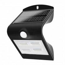 V-TAC VT-768 lampada da muro LED 3W con pannello solare e sensore di movimento corpo nero IP65 - SKU 7528