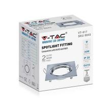 V-TAC VT-817 Portafaretti da incasso orientabile quadrato metallo cromato per lampadine GU10-GU5.3 - sku 8943