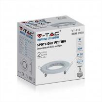 V-TAC VT-817 Portafaretti da incasso orientabile rotondo metallo bianco per lampadine GU10-GU5.3 - sku 8938