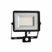 20W LED Sensor Floodlight SMD 100° - Black Body Mod. VT-4820PIR - SKU 5697 - Warm White 3000K