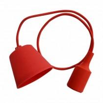 Portalampada decorativo pendente 1MT in silicone attacco E27 - Mod. VT-7228 SKU 3480 - Rosso