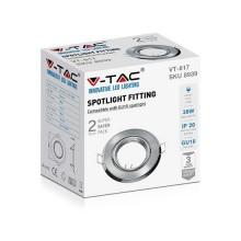 V-TAC VT-817 Plafond rond en métal nickel satiné réglable pour spotlights LED GU10-GU5.3 box 2pcs/pack - sku 8939