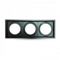Portafaretto incasso V-TAC alluminio quadrato orientabile 3xAR111 VT-7223 - SKU 3583 NERO