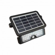 V-TAC VT-777-5 5W solar led floodlight with sensor slim black body day white 4000K - sku 8547