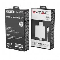 V-TAC VT-5382 Kit de charge rapide avec adaptateur de voyage et câble USB de type C blanc - sku 8643