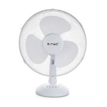 """V-TAC VT-4012-3 Ventilatore oscillante 40W 12"""" da tavolo 3 pale in plastica colore bianco IP20 - sku 7924"""