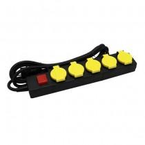 V-TAC VT-1125-3 outdoor socket power Strip 5 Schuko Outlet 16A EU standard 3mt cable on/off light switch IP44 - sku 8813