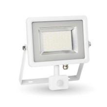 V-TAC VT-4830 projecteur LED 30W avec sensor PIR blanc froid 6400K Ultra slim blanc IP44 - SKU 5752