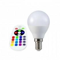 V-TAC SMART VT-2234 3.5W LED bulb E14 P45 RGB+W 4000K with RF remote control - sku 2776