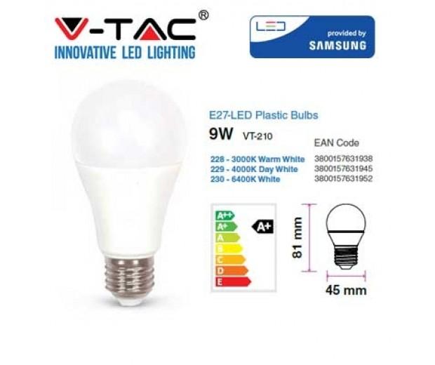V-TAC 5W PLASTIC SPOTLIGHT WITH SAMSUNG CHIP COLORCODE:6400K GU10 12PCS//PACK