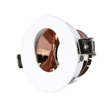 V-TAC VT-874 Plafond Rond trou ovale blanc+or rose réglable 15° twist to open pour Spotlights LED GU10-GU5.3 - SKU 3163