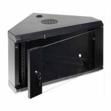 """Corner Hanging Rack Cabinet Black RAL9004 19"""" 6U 430mm"""