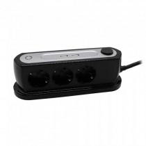 V-TAC VT-1133-2 Multipresa da tavolo  3 posti schuko EU standard 10A + 2 prese USB cavo 1,5mt interruttore - sku 8817