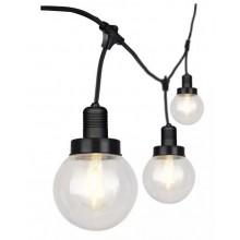 V-TAC VT-720S LED-String-Licht anschließbaren E27x6pcs mit Kugelbirne Lampenhalter Kabel 3M mattschwarz wasserdicht IP65 - SKU 8971