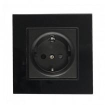 V-TAC VT-5711 16A 250V simples prises UE en plastique et verre noir IP20 - sku 8399