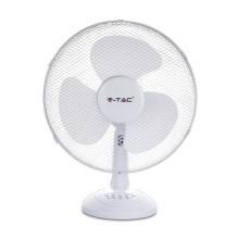 """V-TAC VT-4017-3 Ventilatore oscillante 40W 16"""" da tavolo 3 pale in plastica colore bianco IP20 - sku 7925"""