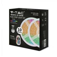 V-TAC VT-5050-300 led strip set 300LEDs RGB SMD5050 10M 4,8W/M 12V IP20 + remote controller + power supply - sku 2630