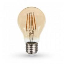 V-TAC PRO VT-266 6W LED bulb chip samsung filament E27 A60 warm white 2.200K glass amber cover - SKU 286