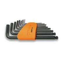 Serie di chiavi maschio esagonale piegate 9pz. con estremità sferica misure 1,5~10mm con supporto Beta 96BP/SC9