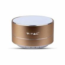 V-TAC SMART HOME VT-6133 3W portable Led light blue metal gold bluetooth speaker with Mic. & TF Card slot - sku 7714