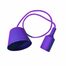 Portalampada decorativo pendente 1MT in silicone attacco E27- Mod. VT-7228 SKU 3483 - Viola