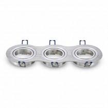V-TAC VT-784RD Portafaretto rotondo incasso regolabile alluminio nickel satinato per 3 lampade GU10-GU5.3 - SKU 3604