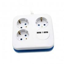 V-TAC VT-1153-2 Multipresa ciabatta 3 posti EU standard 10A + 2 prese USB cavo 1,5mt  - sku 8799