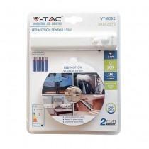 V-TAC VT-8082 Kit striscia led 2.8W 1M IP65 con alimentazione a batterie e sensore movimento PIR bianco caldo 3000K - SKU 2573