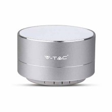 V-TAC SMART HOME VT-6133 3W portable Led light blue metal silver bluetooth speaker with Mic. & TF Card slot - sku 7713