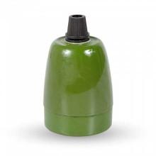 V-TAC VT-799 E27 lamp holder green porcelain IP20 - SKU 3797