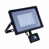 V-TAC PRO VT-20-S 20W led pir sensor floodlight SMD chip samsung warm white 3000K slim black body IP65 - SKU 451