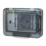 Custodia Wide completa di presa schuko bivalente per scatola da incasso a 3 moduli Waterproof IP55 RAL 7035 4BOX 4B.W.RAL.015