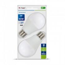 V-Tac VT-2139 Duo blister pack lampadine led smd 9W E27 A60 bianco freddo 6400K - SKU 7296